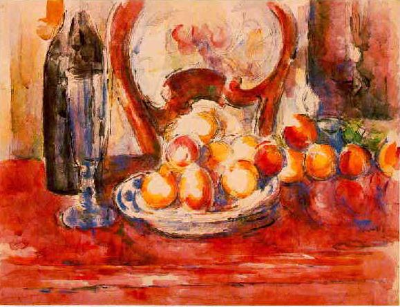 Still Life: Apples, Bottle and Chairback (1902-1906) - Paul Cézanne